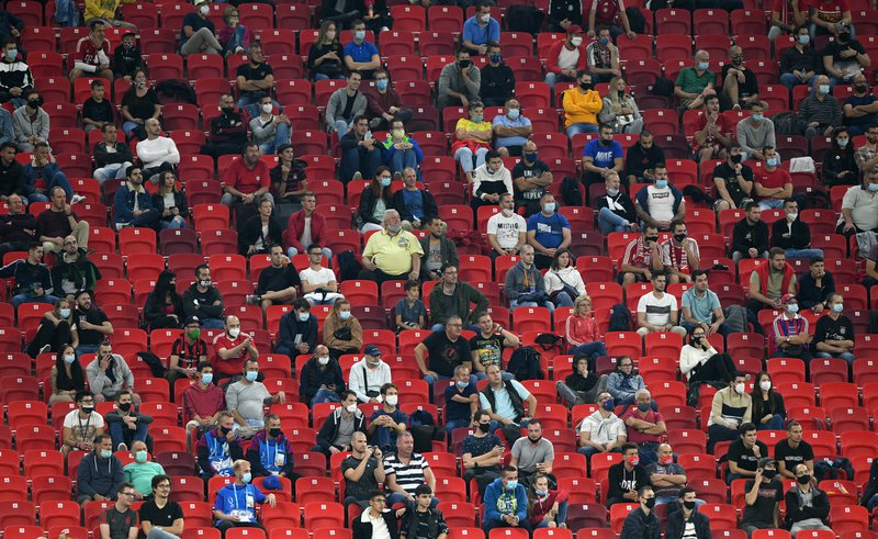 BUDAPEST, HUNGARY - SEPTEMBER 24: Fans during the UEFA Super Cup match between FC Bayern Munich and FC Sevilla at Puskas Arena on September 24, 2020 in Budapest, Hungary. (Photo by Chris Ricco - UEFA/UEFA via Getty Images)