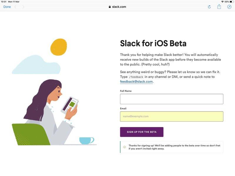 Slack bèta iOS