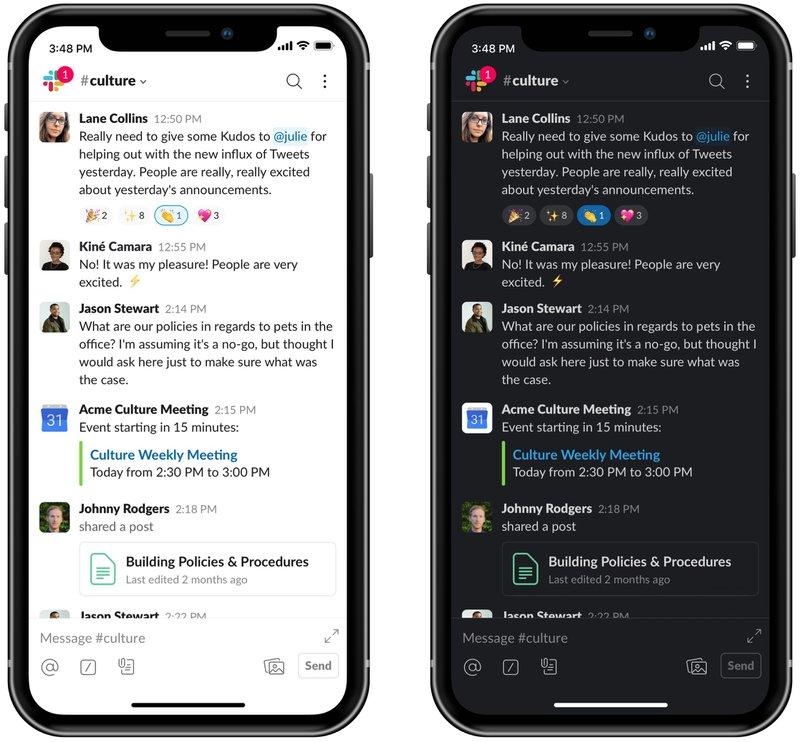 Slack Dark Mode - Android - iOS