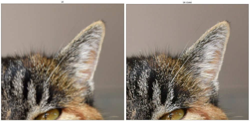 Before and after example of super-resolution AI