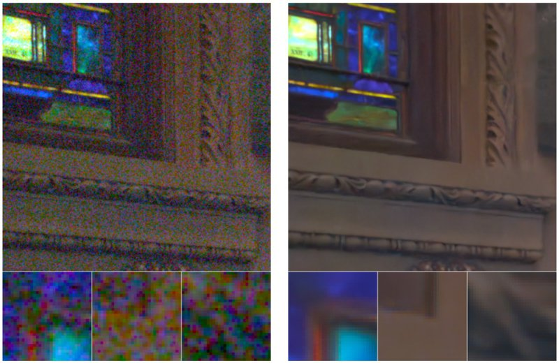 Before and after demonstration of denoising enhance AI