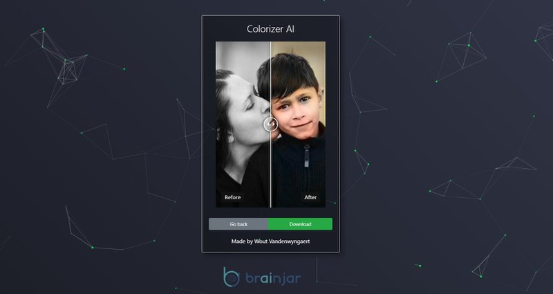 screenshot of colorizer enhance-ai result page user interface