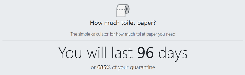 The results from a toilet paper calculator. 24 rolls will last about 96 days.