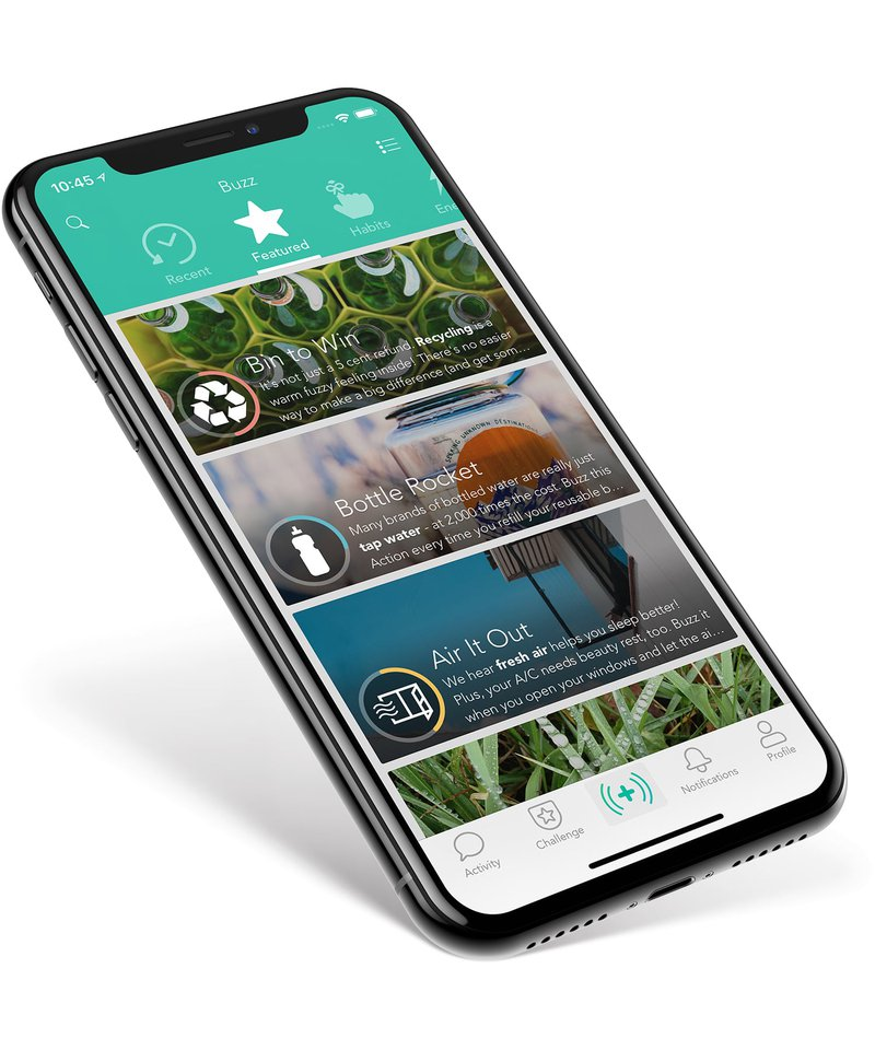 JouleBug — one of many green apps — showcased on an iPhone X