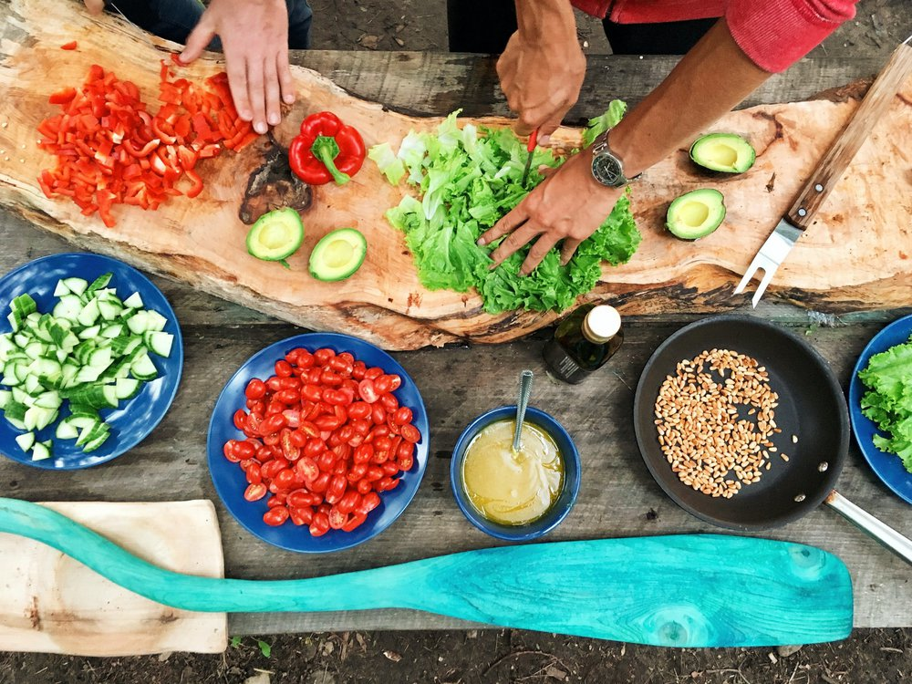 A nice spread of sustainable, in-season foods