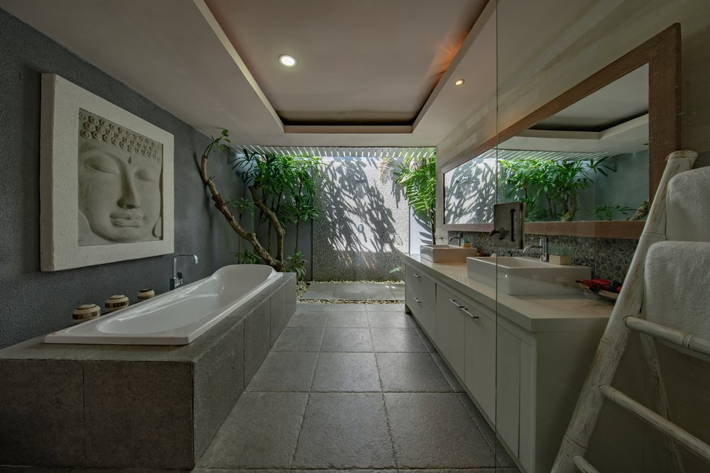 A natural bathroom space — one of many modern bathroom designs with good energy.