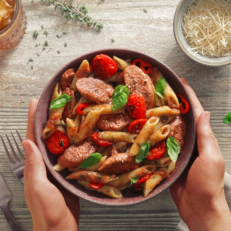 A delicious bowl of sustainable food with plant-based meat