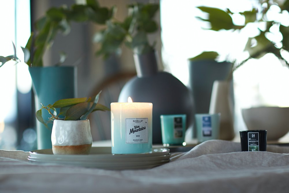 A fresh, calming candle complements many modern bathroom designs