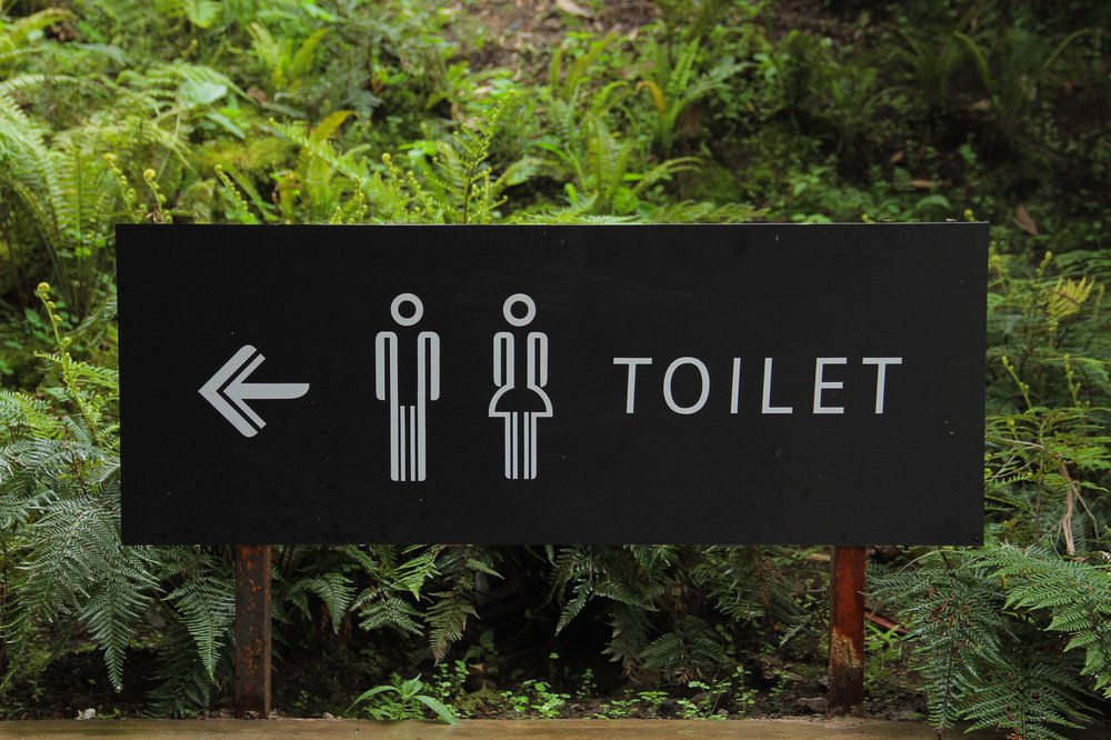 A sign pointing toward the toilet. The toilet timeline has a long history.