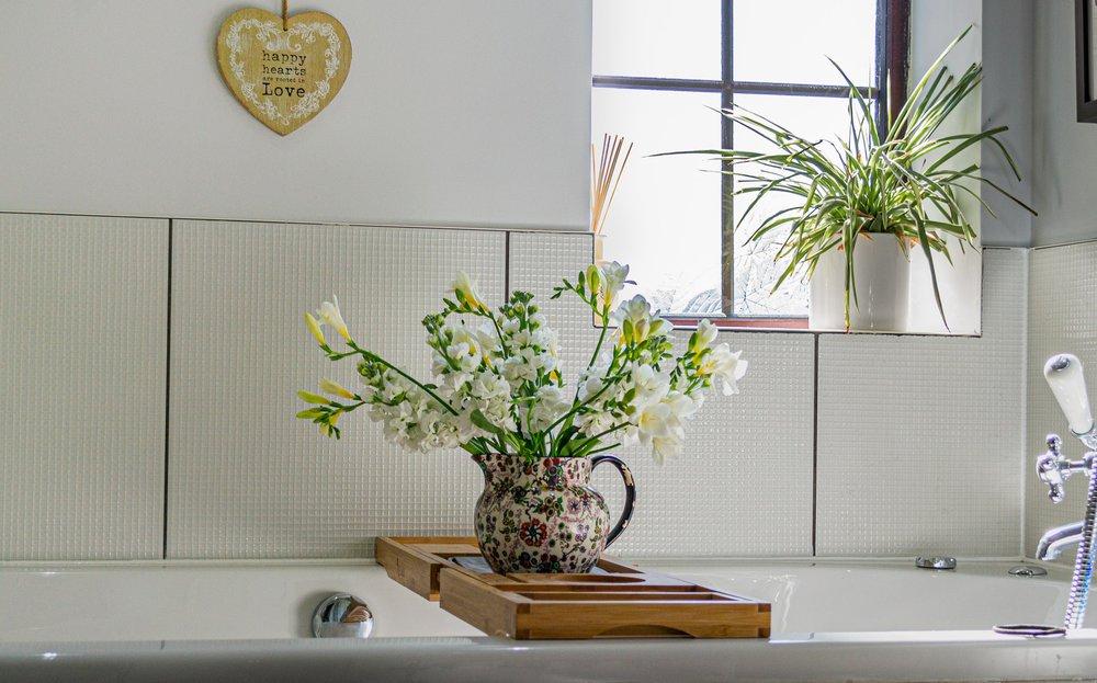 A feng shui-friendly bathroom plant atop a bathtub.
