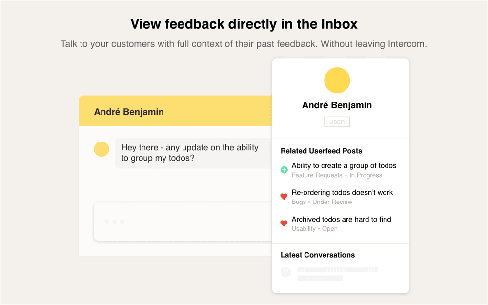 Intercom Inbox apps, view user feedback activity within the context of the conversation