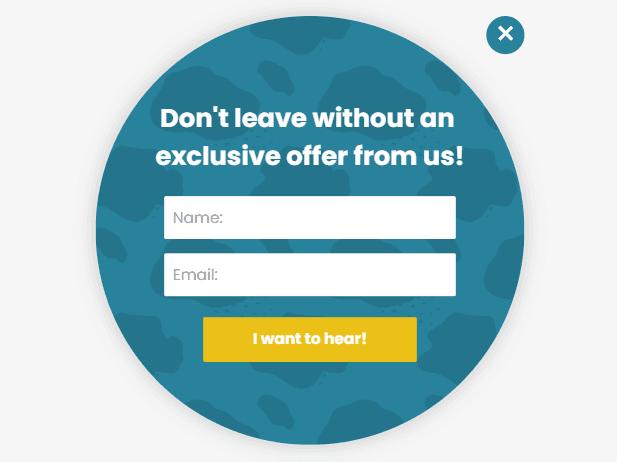 circular popup ecommerce poptin example