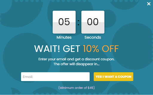 timed offer timer popup example from poptin ecommerce business
