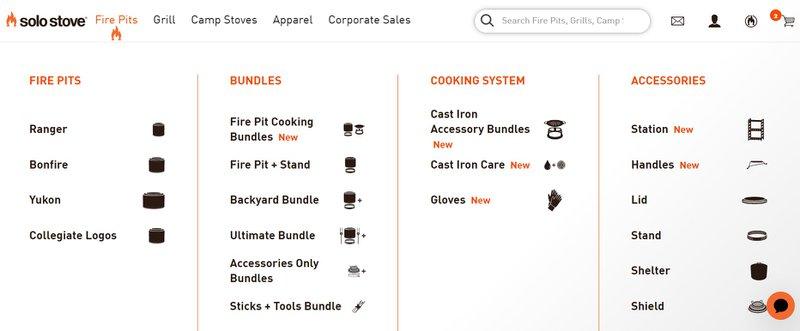 Solo Stove main drop down menu ecommerce
