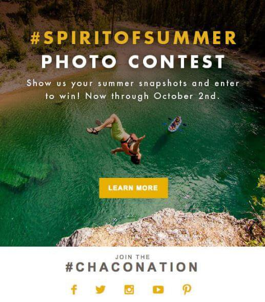 Chaco UGC email marketing campaign