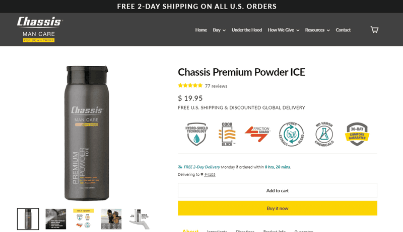 chassis 2-day delivery ecommerce shopify