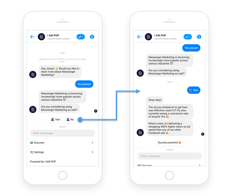 facebook messenger ad chatbot example ecommerce