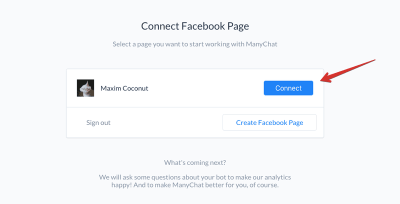 connect a facebook page to manychat chatbot tool