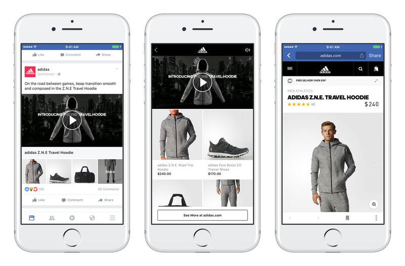 Facebook collection ad adidas social ecommerce