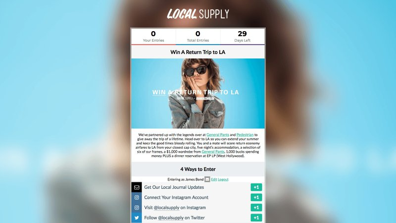 Gleam campaign giveaway ecommerce example