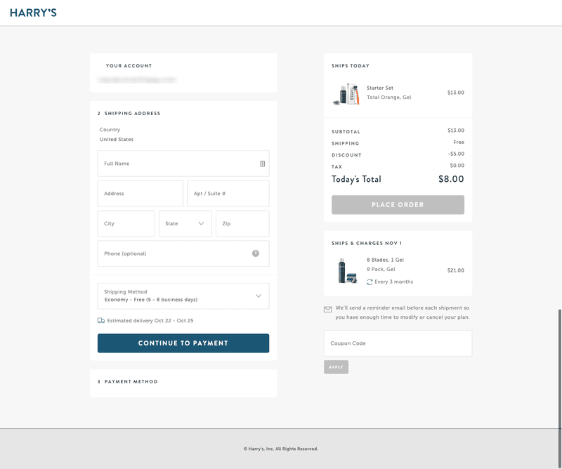 harry's distraction free ecommerce checkout page