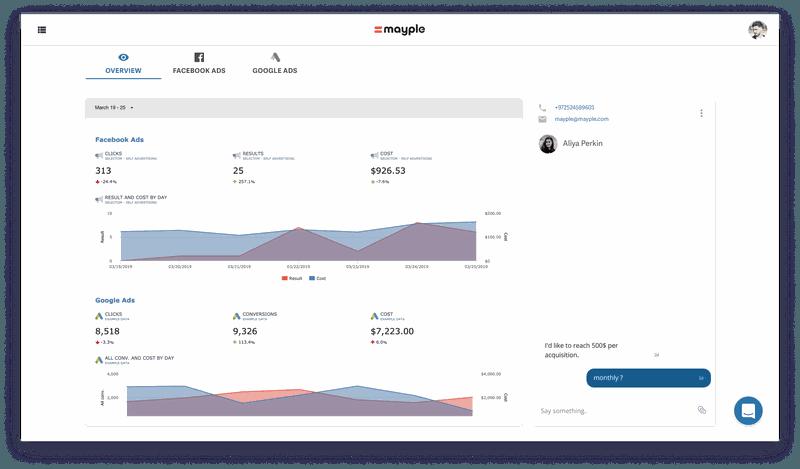 Mayple.com dashboard