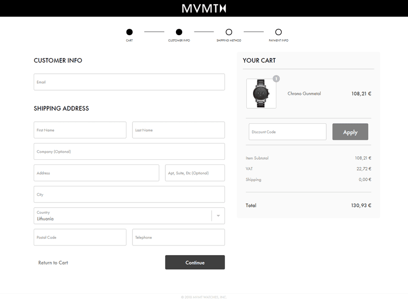 MVMT top ecommerce checkout process example