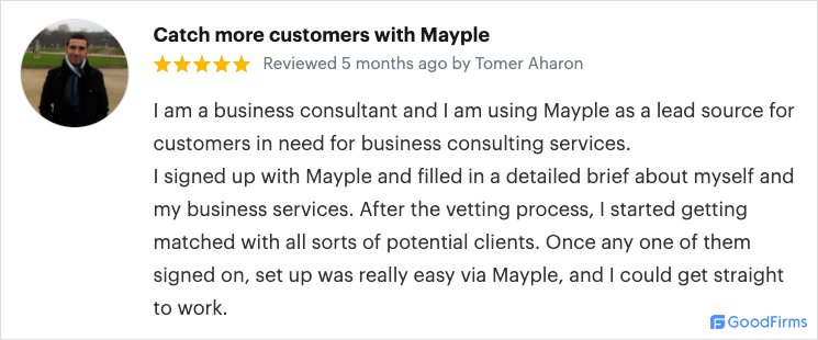 mayple advertising review on goodfirms