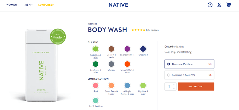 native brand subscription product