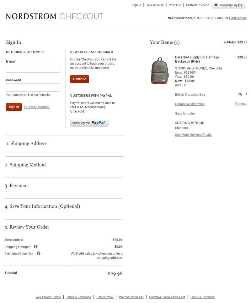 Nordstrom checkout page flow ecommerce