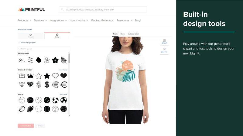 Printful design your own t-shirt dropshipping shopify app