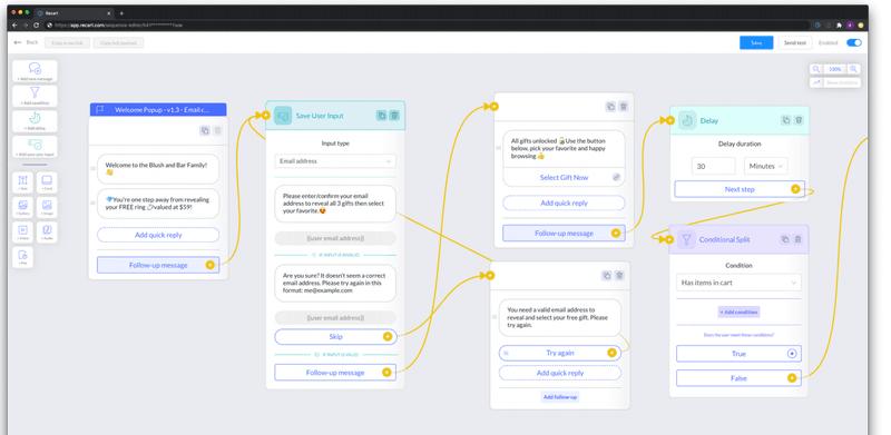 recart automated flow messenger chatbot ecommerce