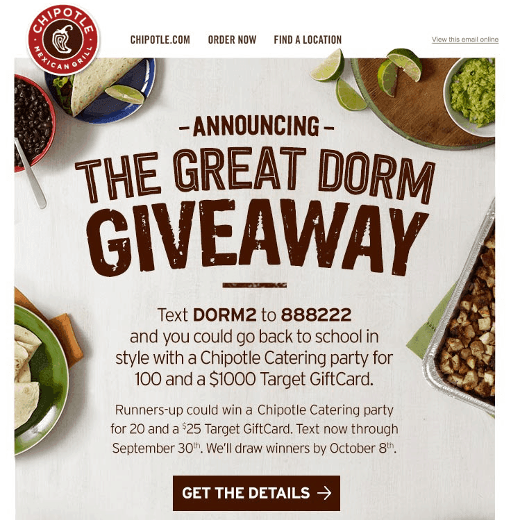 Chipotle text message campaign giveaway example ecommerce