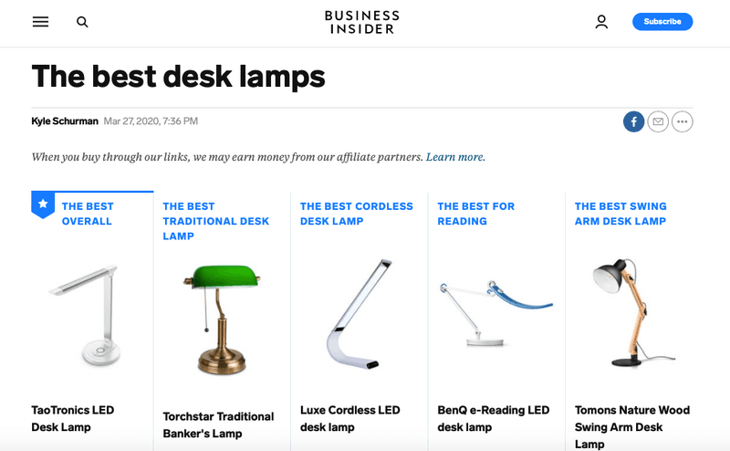 the best desk lamps business insider affiliate program ecommerce