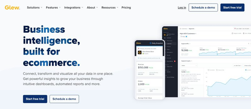 glew.io comprehensive data platform for ecommerce automation