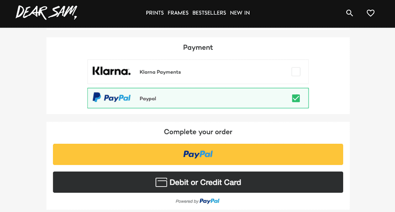 dearsam third 3rd party checkout payment option for ecommerce
