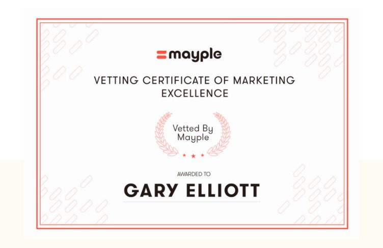 Mayple vetting certificate of marketing excellence