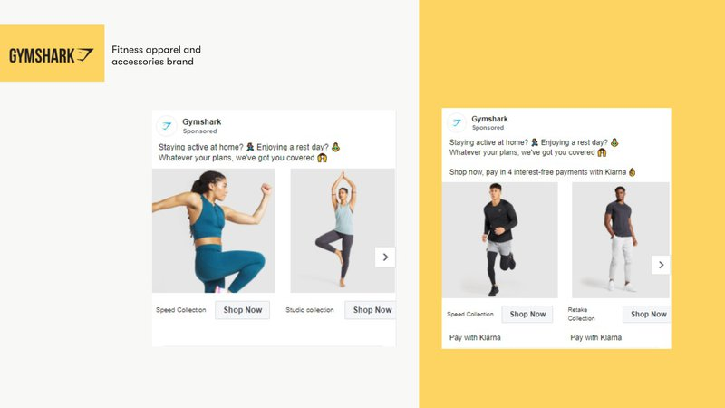 use multiple images per ad gymshark fb ad