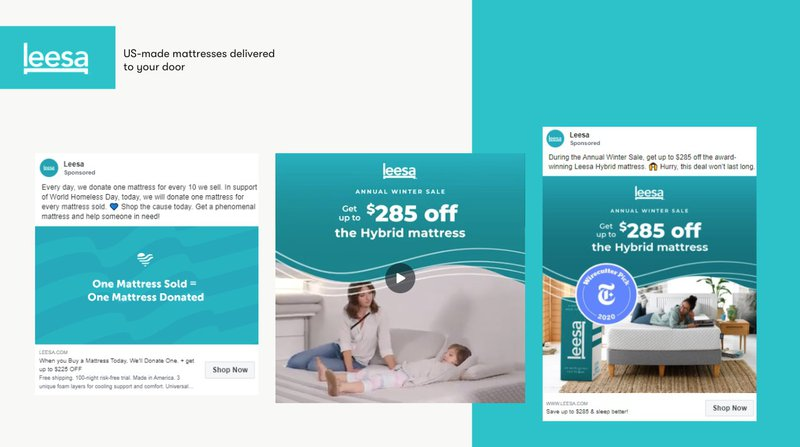 leesa mattress facebook ad ecommerce