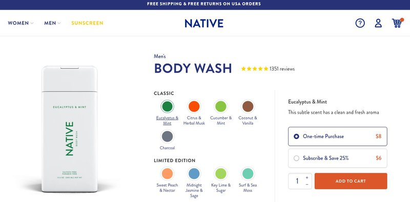 native body wash one time purchase