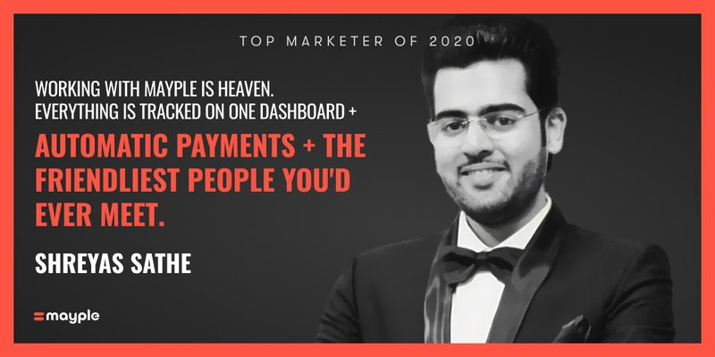 shreyas sathe mayple top marketer 2020