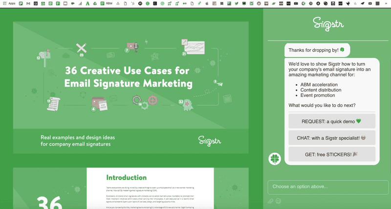 sigstr helpful interactive chatbot example