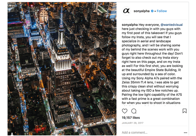 sony alpha instagram take over influencer marketing strategy