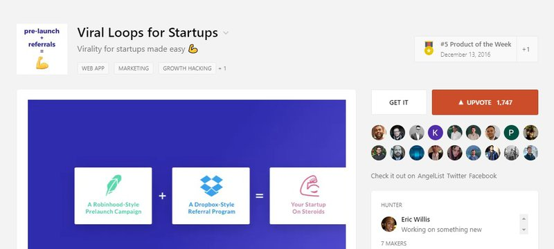 Viral Loops for startups on ProductHunt