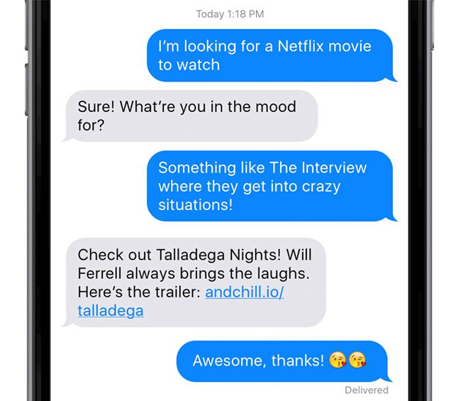 andchill movie chatbot example recommendation