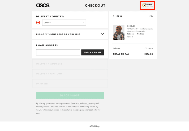 asos trust badge signal checkout page optimization