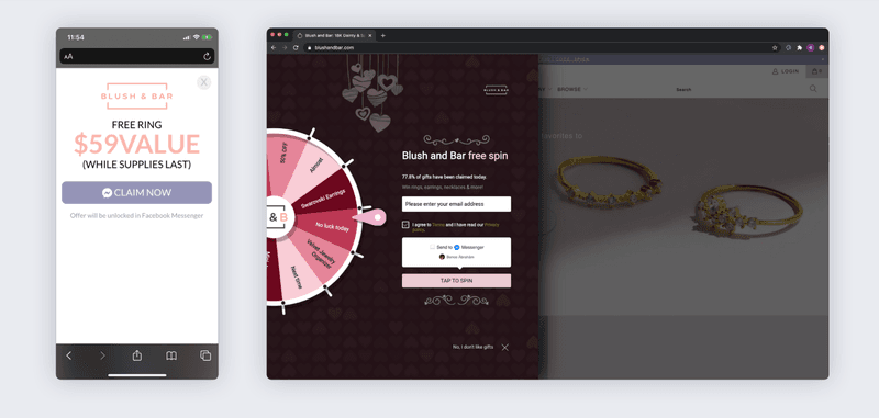 blush and bar ecommerce chatbot popup example messenger