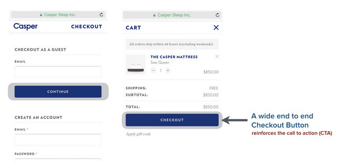 casper wide buttons for mobile checkout page ecommerce