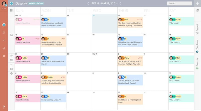 coschedule dashboard social media scheduler