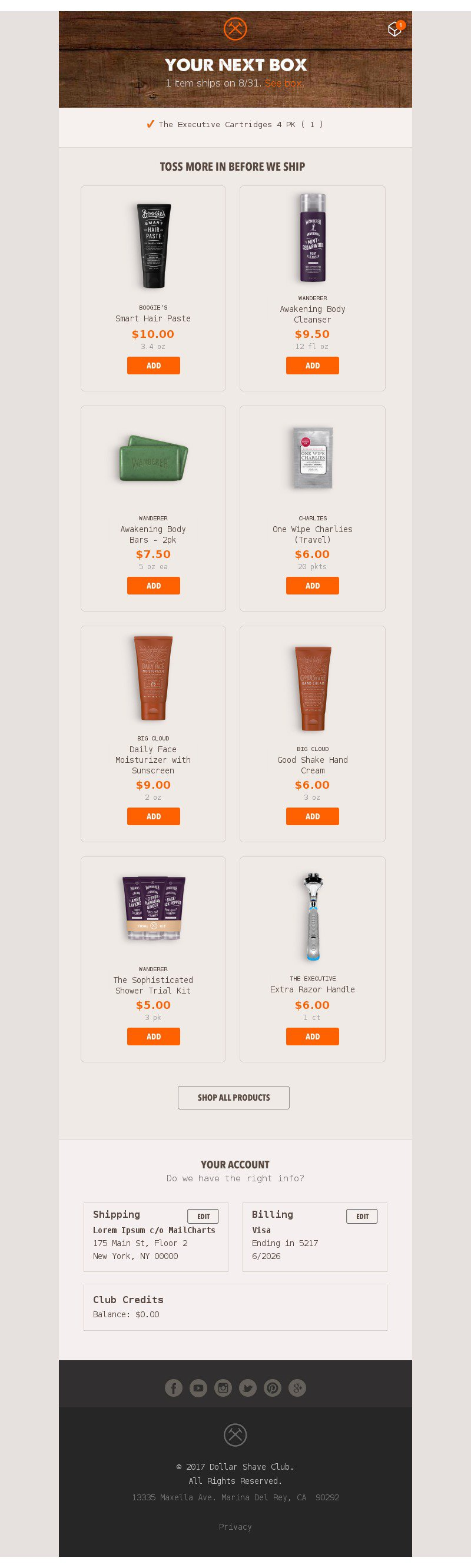 cross sell upsell email example from dollar shave club